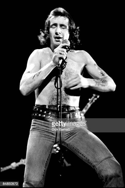 Photo of AC/DC Bon Scott performing live onstage on first UK tour
