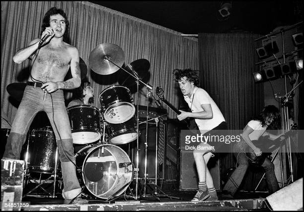 Photo of AC/DC Bon Scott Phil Rudd Angus Young Mark Evans performing live onstage on first UK tour