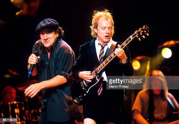 PARK Photo of AC/DC Brian Johnson and Angus Young performing live onstage