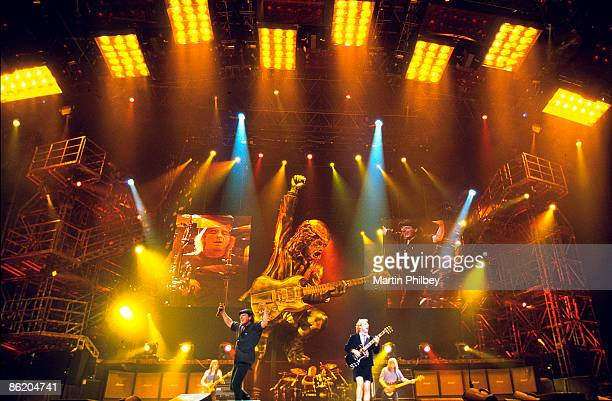 Malcolm Young Brian Johnson Phil Rudd Angus Young Cliff Williams performing live onstage