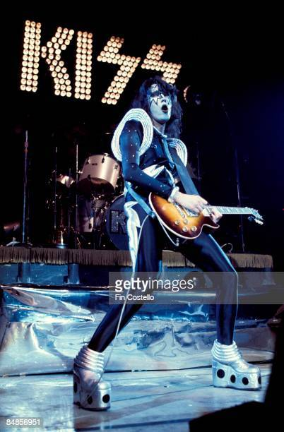 Photo of Ace FREHLEY and KISS Ace Frehley performing live onstage during cover session for Alive album playing Gibson Les Paul guitar full length...