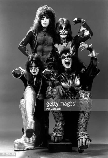 Photo of Ace FREHLEY and Peter CRISS and Paul STANLEY and KISS and Gene SIMMONS LR Paul Stanley Peter Criss Ace Frehley Gene Simmons posed studio...