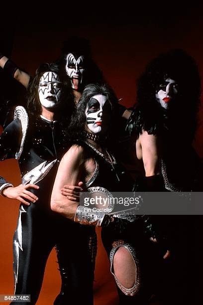 Photo of Ace FREHLEY and Peter CRISS and Paul STANLEY and KISS and Gene SIMMONS LR Ace Frehley Gene Simmons Peter Criss Paul Stanley posed studio...
