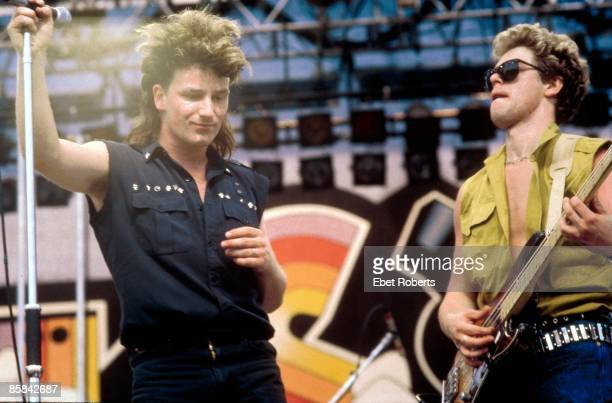Photo of Adam CLAYTON and U2 and BONO Bono Adam Clayton performing live onstage at the US Festival at San Bernardino