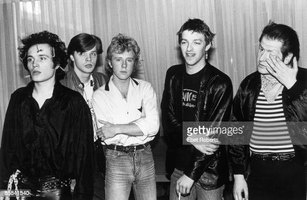 Photo of ADAM THE ANTS and Adam ANT and Marco PIRRONI and Terry Lee MIALL and Gary TIBBS and Chris HUGHES Posed group portrait backstage LR Adam Ant...