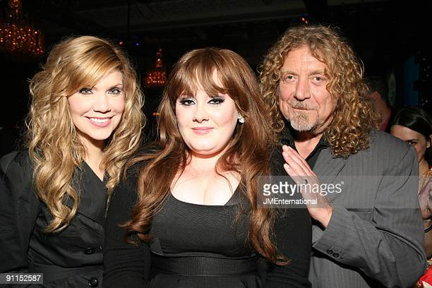 AWARDS Photo of ADELE and Alison KRAUSS and Robert PLANT LR Alison Krauss Adele and Robert Plant