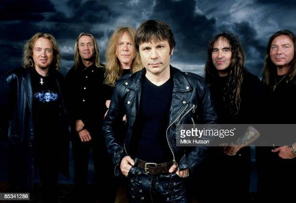 Photo of Adrian SMITH and Bruce DICKINSON and Janick GERS and IRON MAIDEN and Steve HARRIS and Dave MURRAY and Nicko McBRAIN LR Adrian Smith Nicko...
