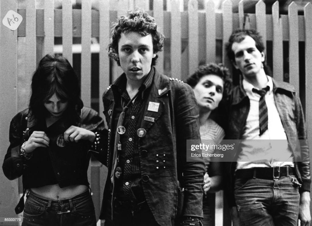EXCHANGE Photo of ADVERTS, Posed group portrait L-R Gaye Advert, TV Smith, Lorry Driver and Howard Pickup