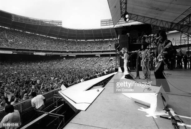 STADIUM Photo of AEROSMITH and Joe PERRY and Steven TYLER and Tom HAMILTON LR Tom Hamilton Steven Tyler and Joe Perry performing live on stage at RFK...