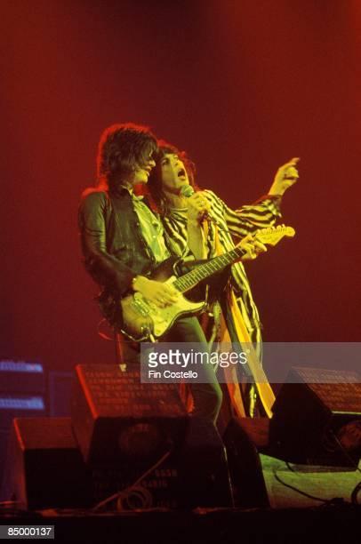 Photo of AEROSMITH and Joe PERRY and Steven TYLER Joe Perry and Steven Tyler performing live onstage