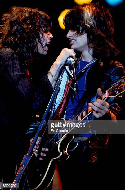 SUMMIT Photo of AEROSMITH and Joe PERRY and Steven TYLER LR Joe Perry and Steven Tyler performing live onstage