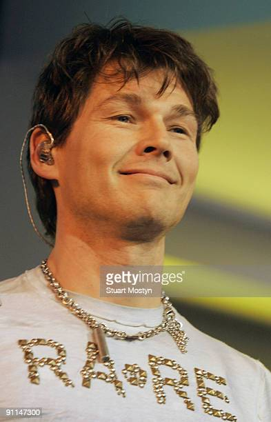 HMV Photo of AHA/ HMV/STUART MOSTYN Morten Harket and his band Aha perform live and signs copies of their latest single Analogue at HMV Oxford Street...
