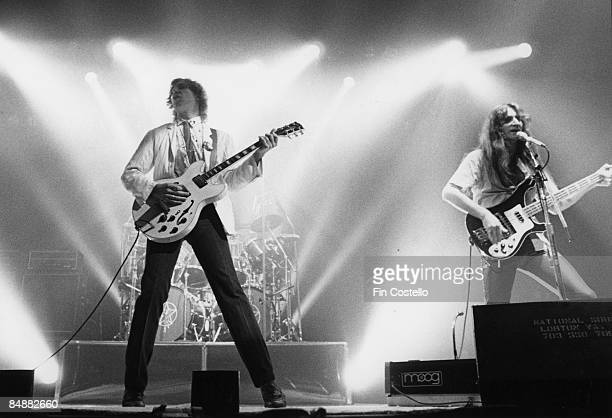 Photo of Alex LIFESON and RUSH LR Alex Lifeson Geddy Lee performing live onstage on Permanent Waves tour