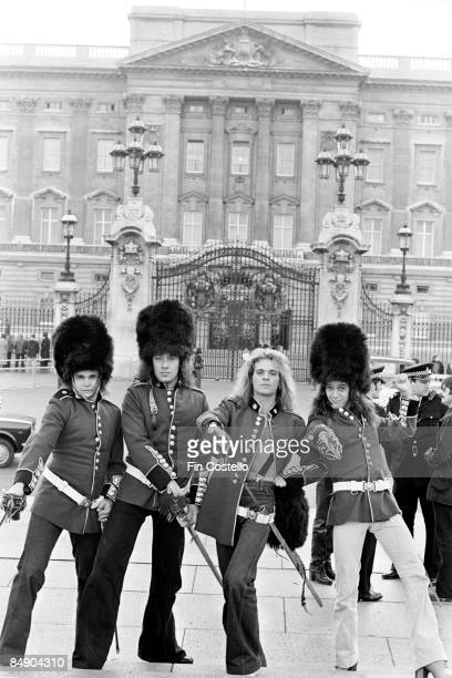 PALACE Photo of Alex VAN HALEN and David Lee ROTH and Eddie VAN HALEN and Michael ANTHONY and VAN HALEN Posed group portrait in guards military...