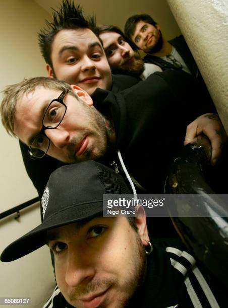 ACADEMY Photo of ALEXISONFIRE Posed group portrait Bottom Top Chris Steele Dallas Green Wade MacNeil Jordan Hastings and George Pettit