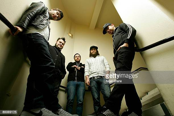 ACADEMY Photo of ALEXISONFIRE Posed group portrait LR George Pettit Wade MacNeil Dallas Green Jordan Hastings and Chris Steele