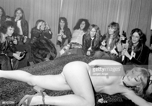 Photo of Alice COOPER Alice Cooper his band and Flo Eddie at a live show in Copenhagen Nov 1972