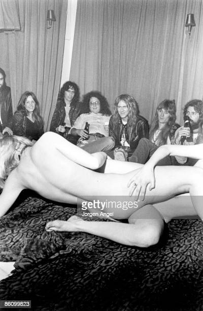 Photo of Alice COOPER Alice Cooper his band and Flo Eddie at a sex show in Copenhagen Nov 1972