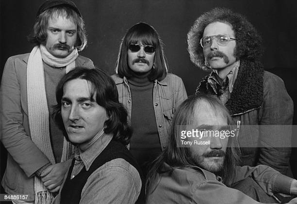 Photo of Allan HOLDSWORTH and SOFT MACHINE and Karl JENKINS and Mike RATLEDGE Posed group portrait LR Back Karl Jenkins Mike Ratledge and John...