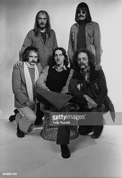 Photo of Allan HOLDSWORTH and SOFT MACHINE and Karl JENKINS and Mike RATLEDGE Posed group portrait LR Back Roy Babbington and Mike Ratledge Front...