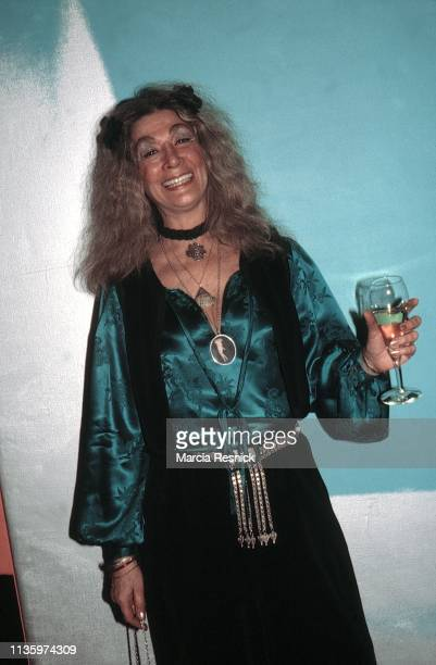 Photo of Amerian actress Sylvia Miles as she attends an unspecified art opening at the OK Harris Gallery, New York, New York, 1979.