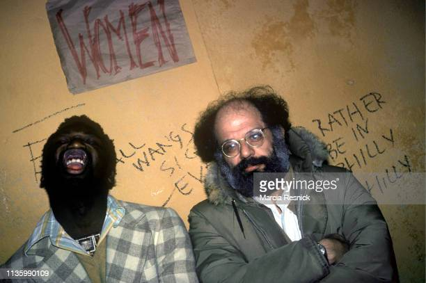 Photo of American Beat poet Allen Ginsberg and an unidentified man, New York, New York. January 1978.