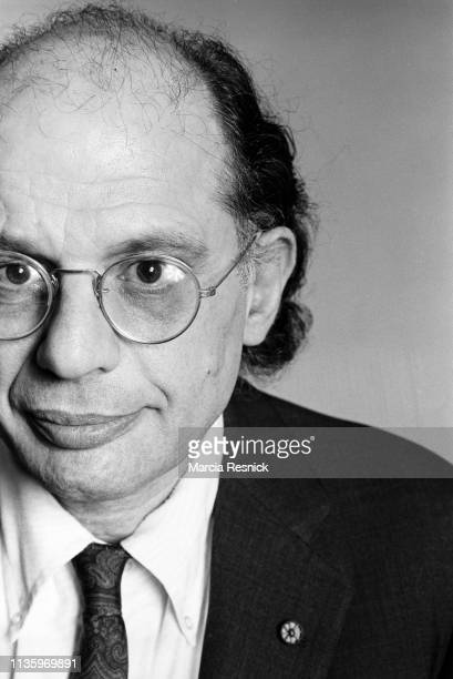 Photo of American Beat poet Allen Ginsberg at William Burrough's Bunker on the Bowery, New York, New York, summer 1980.