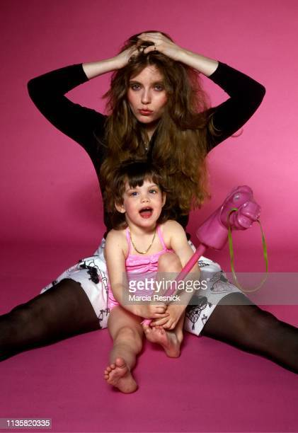 Photo of American fashion model Bebe Buell and her daughter, Liv Tyler, New York, New York, 1980.
