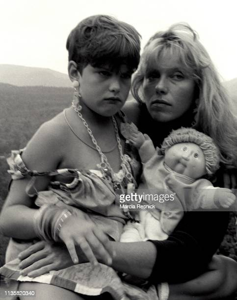 Photo of American fashion model Bebe Buell and her daughter Liv Tyler Woodstock New York 1987