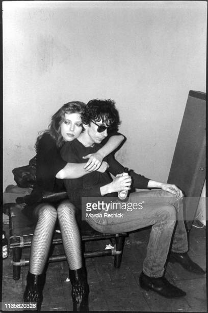 Photo of American fashion model Bebe Buell and Punk musician Stiv Bators of the group the Dead Boys backstage the latter's performance New York New...