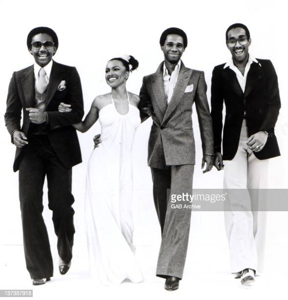 Photo of American group Chic posed full length in 1977 Left to right Bernard Edwards Norma Jean Wright Nile Rodgers and Tony Thompson