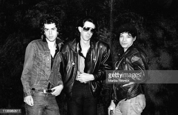 Photo of American New Wave musician Ric Ocasek , of the Cars, between Punk and Electronic musician Alan Vega and Martin Rev , both of Suicide, New...