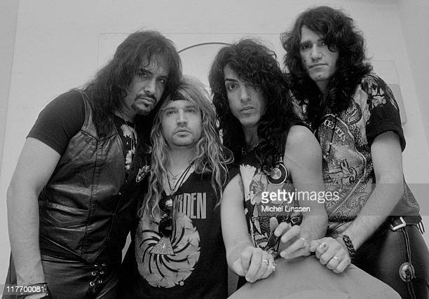 Photo of American rock group Kiss posed in the Netherlands in 1992 Left to Right Gene Simmons Eric Singer Paul Stanley Bruce Kulick