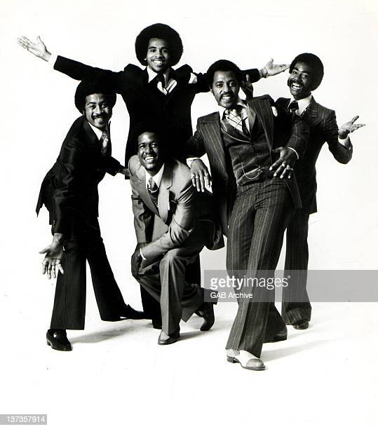 Photo of American soul and vocal quintet group Blue Magic posed circa 1975
