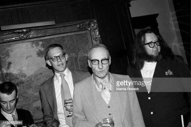 Photo of American writer Victor Bockris, editor and writer James Grauerholz, Beat author William S Burroughs , and poet Ted Berrigan at the Literary...