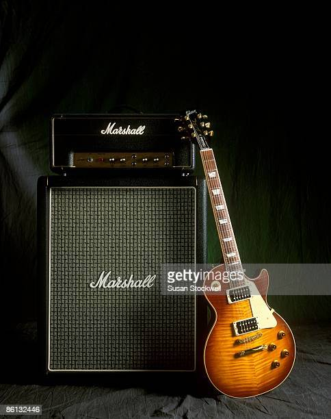 Photo of AMPLIFIERS and GIBSON LES PAUL GUITAR and GUITAR and MARSHALL AMP 1997 Jimmy Page signature model still life studio