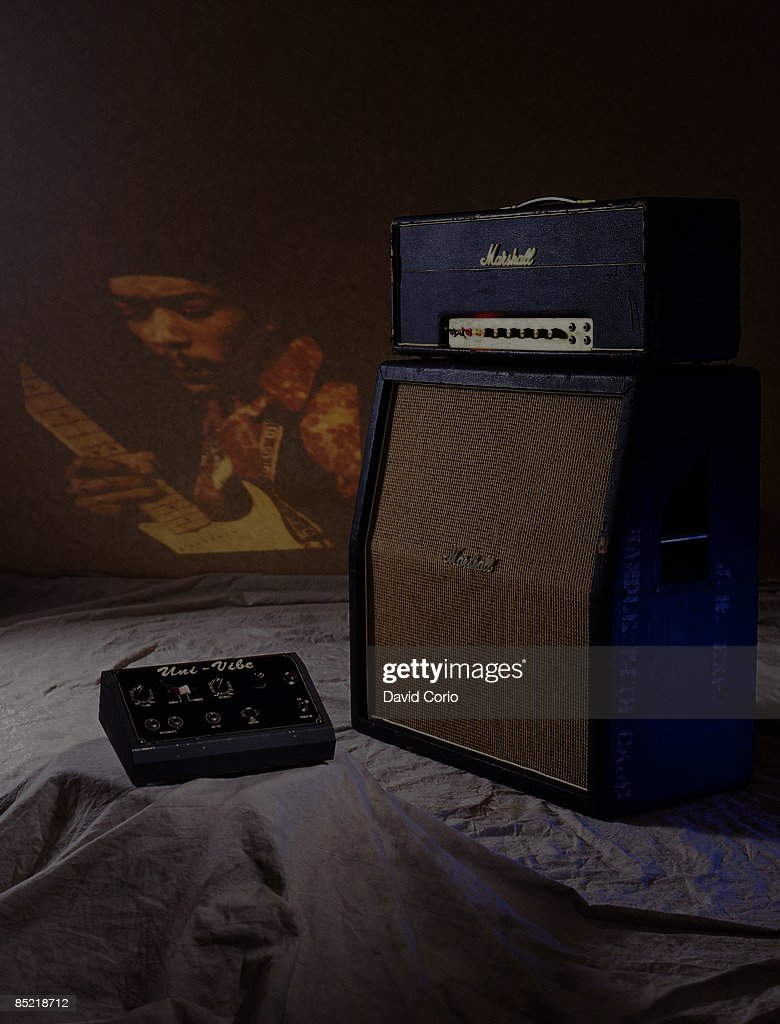 Photo of AMPLIFIERS and Jimi HENDRIX and MARSHALL AMP; Jimi's Marshall amplifier and Uni-Vibe guitar effects pedal