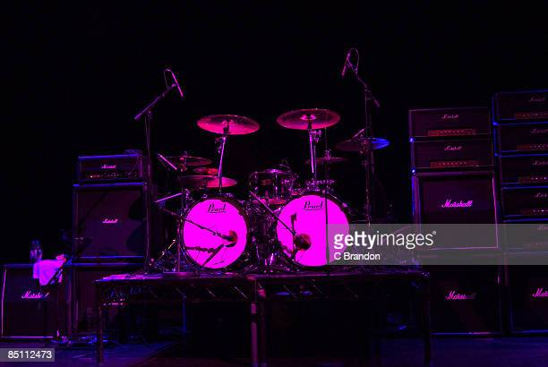 S BUSH EMPIRE Photo of AMPLIFIERS Marshall amplifiers and drum kit on stage
