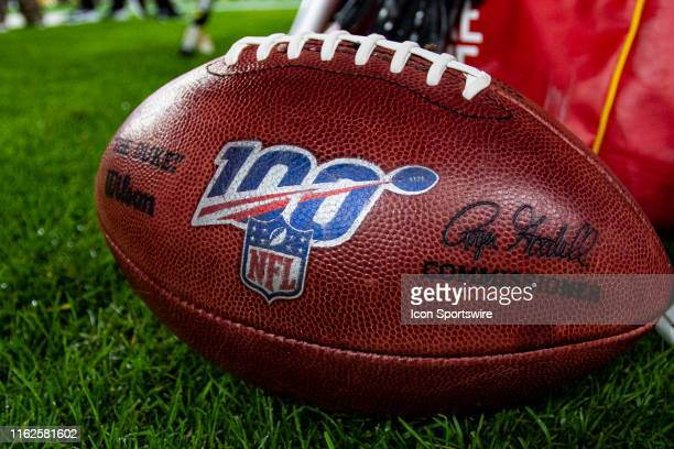 A photo of an NFL game ball with the centennial logo during the NFL football game between the Kansas City Chiefs and the Pittsburgh Steelers on...