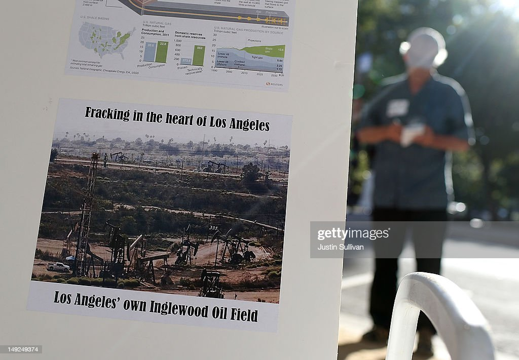 A photo of an oil field where fracking is performed is displayed during a demonstration against fracking outside of the California Environmental Protection Agency (EPA) headquarters on July 25, 2012 in Sacramento, California. Dozens of environmental activists staged a 'Stop Fracking With California' demonstration outside the California EPA headquarters ahead of public workshop hosted by the Division of Oil Gas and Geothermal Resources where protestors are planning to voice their opposition to the rushed regulatory of fracking and the many threats to the environment imposed by the process of hydraulic fracking for oil and gas.