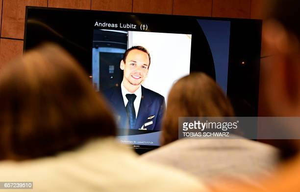 A photo of Andreas Lubitz a copilot who crashed the Germanwings flight two years ago killing 150 people in the French Alps is pictured during a press...