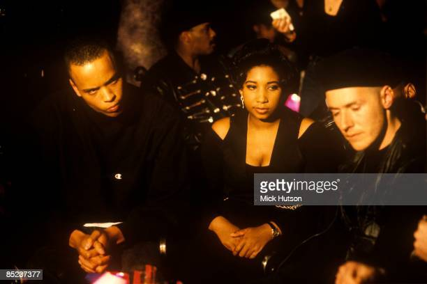 Photo of Andrew VOWLES and Robert Del NAJA and MASSIVE ATTACK and Shara NELSON LR Andrew Vowles Shara Nelson Robert Del Naja posed on set of Friday...