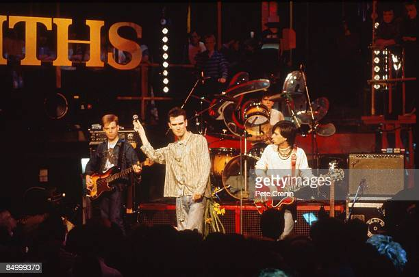 Photo of Andy ROURKE and MORRISSEY and Mike JOYCE and Johnny MARR and SMITHS LR Andy Rourke Morrissey Mike Joyce Johnny Marr performing live on The...