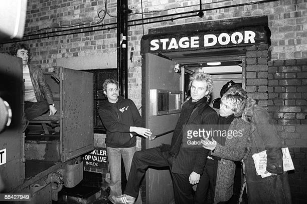 Photo of Andy SUMMERS and POLICE and STING, L-R: Sting, Andy Summers outside stage door - on night when they played Hammersmith Odeon and Hammersmith...
