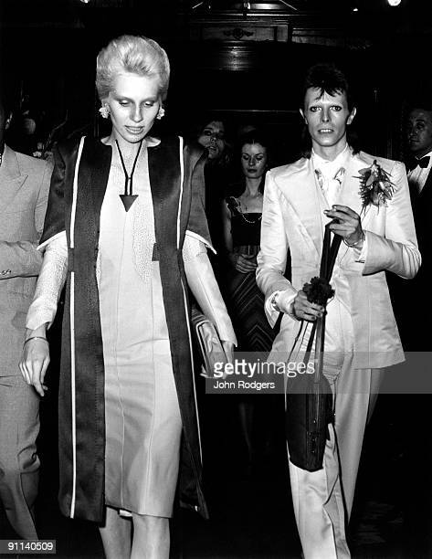 Photo of Angie BOWIE and David BOWIE; with wife Angie Bowie at Cafe Royal