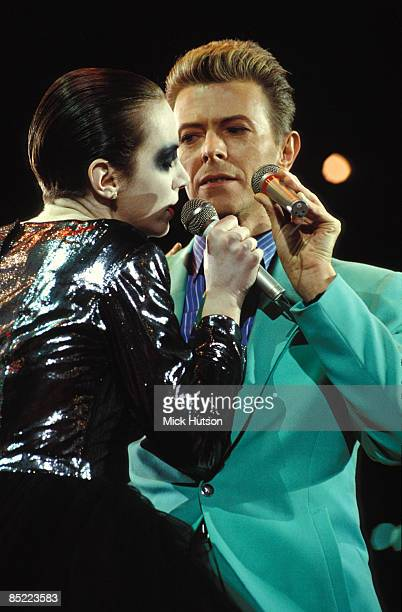 WEMBLEY Photo of Annie LENNOX and David BOWIE Annie Lennox David Bowie performing live onstage at the Freddie Mercury Tribute Concert