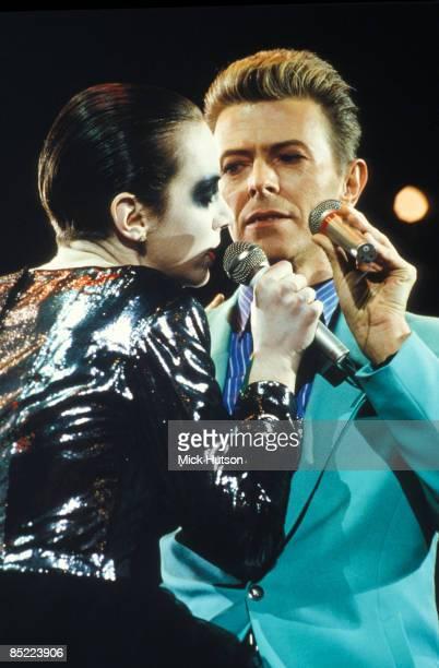 STADIUM Photo of Annie LENNOX and David BOWIE Annie Lennox David Bowie performing live onstage at the Freddie Mercury Tribute Concert