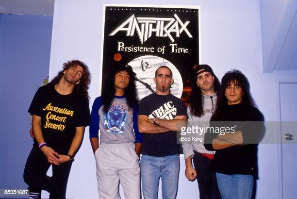 Photo of ANTHRAX and Frank BELLO and Joey BELLADONNA and Charlie BENANTE and Dan SPITZ and Scott IAN Posed group portrait LR Frank Bello Joey...