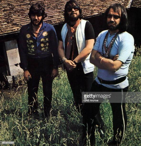 Photo of APHRODITE'S CHILD and Lucas SIDERAS and VANGELIS and Demis ROUSSOS Posed group portrait LR Lucas Sideras Vangelis and Demis Roussos