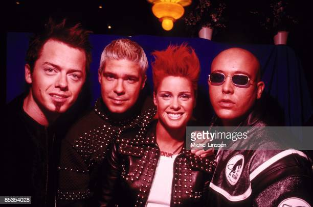 Photo of AQUA and Soren Raasted NYSTROM and Claus NORREEN and Lene CRAWFORD NYSTROM and Rene DIF; Posed group portrait L-R Claus Norreen, Soren...